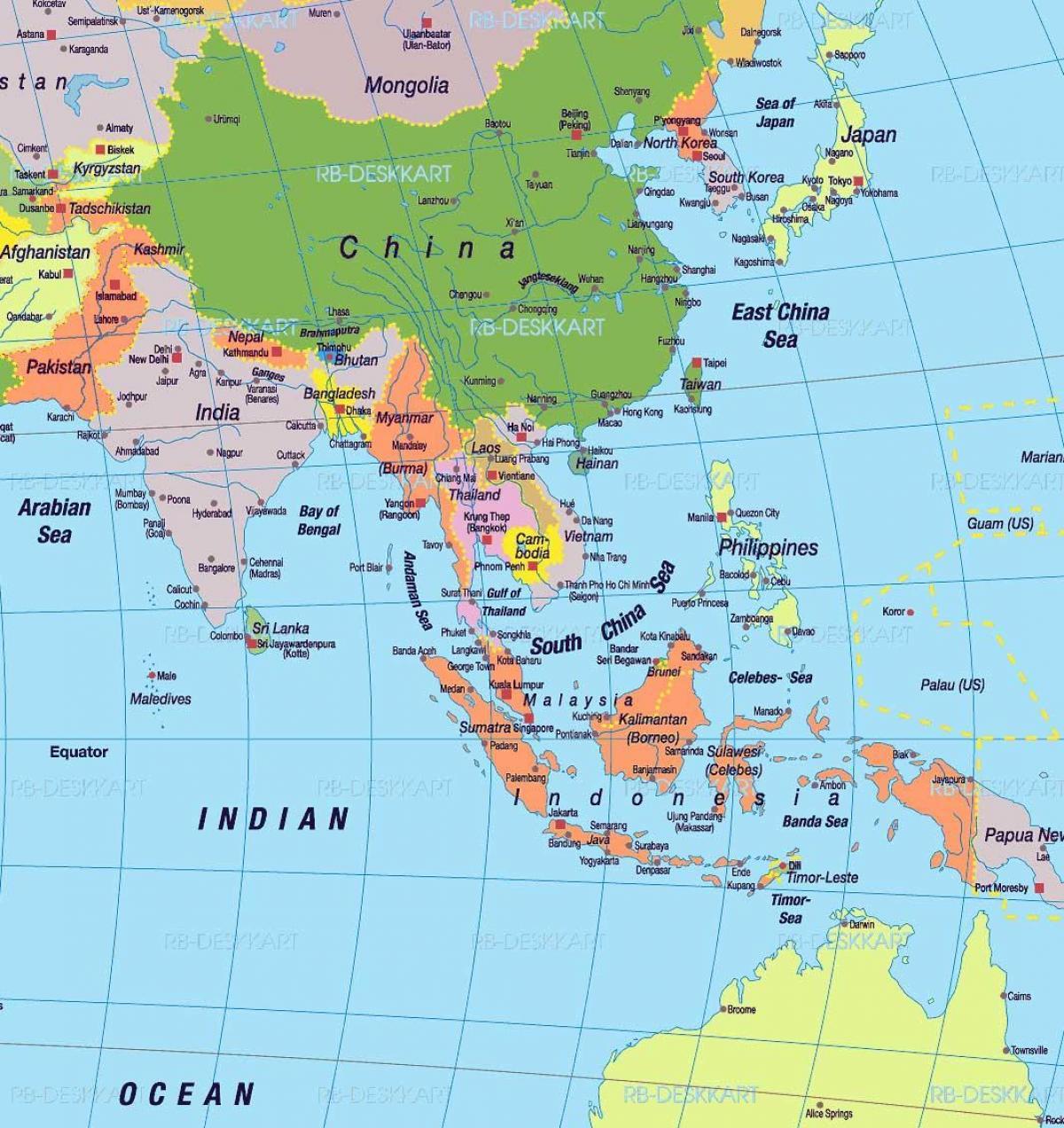 östra asien karta Karta över södra Kina   Södra Kina karta (Östra asien   Asien) östra asien karta